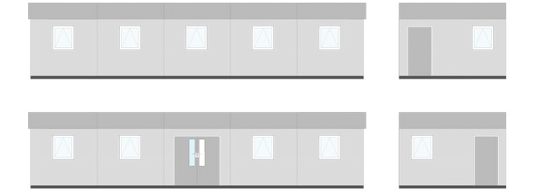 Typical 5 bay (2 classrooms/cloakroom)